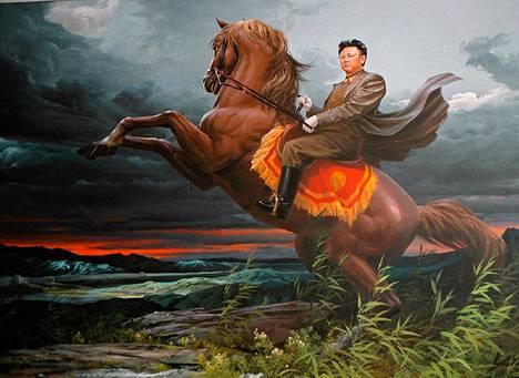 Kim Jong-ilia esittävä maalaus Pjongjangin taidemuseon nykytaiteen osastolla.