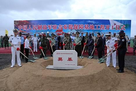 Kansan vapautusarmeija eli Kiinan asevoimat järjesti seremonian Djiboutin-tukikohdan perustamisen vuoksi.
