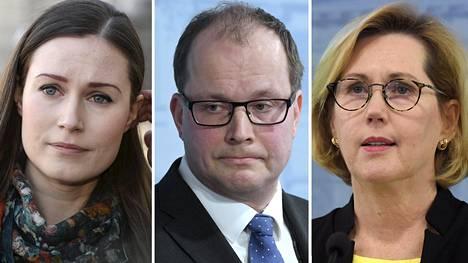 Pääministeri Sanna Marin, Huoltovamuuskeskuksen toimitusjohtaja Tomi Lounema ja työministeri Tuula Haatainen.