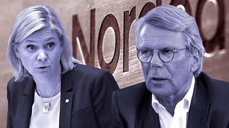 Ruotsin valtiovarainministeri Magdalena Andersson ja Nordean hallituksen puheenjohtaja Björn Wahlroos joutuivat vastakkain Nordean pääkonttorikiistassa.
