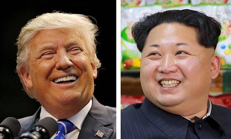 Republikaanien presidenttiehdokas Donald Trump (vas.) ja Pohjois-Korean johtaja Kim Jong Un.