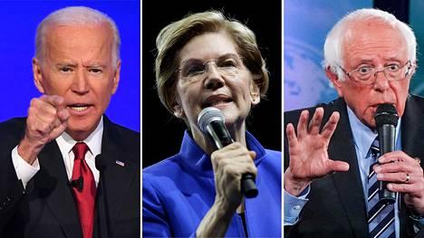 Entinen varapresidentti Joe Biden (vas.), senaattori Elizabeth Warren ja senaattori Bernie Sanders.