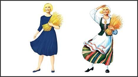 Raisio puki Elovena-tytön siniseen mekkoon vanhan kansallispuvun sijasta.