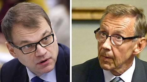 Pääministeri Juha Sipilä ja oikeuskansleri Jaakko Jonkka.
