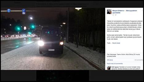 """Tämän kuvan ottaminen käynnisti tapahtumasarjan, joka vei Marjut Ollitervon putkaan. Hän kirjoitti tapauksesta """"Minä pysäköin pyörätielle"""" -ryhmään Facebookissa."""