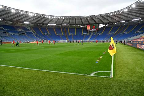 Stadio Olimpicolla nähdään kesällä EM-jalkapalloa. Kuva AS Roman ja Bolognan ottelusta huhtikuulta.