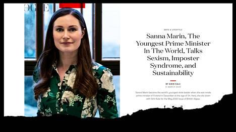 Pääministeri Sanna Marinin (sd) haastattelu ilmestyi Britannian Voguessa tiistaina.
