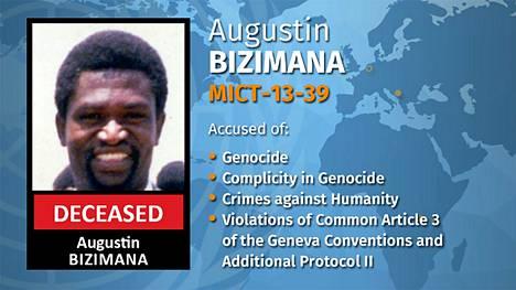 YK kertoi Bizimanan kuolemasta perjantaina. Kuvakaappaus YK:n alaisen Rikostuomioistuinten kansainvälinen ylijäämämekanismin verkkosivulta.