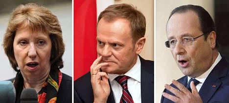 Catherine Ashton, Donald Tusk ja François Hollande