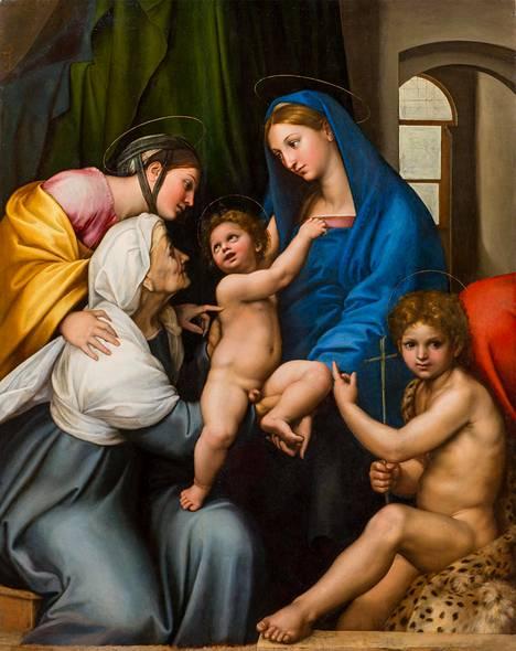 Firenzen Palazzo Pittistä lainattu Rafaelin Madonna dell'Impannata (1511) on restauroitu näyttelyä varten ja loistaa alkuperäisissä väreissään.