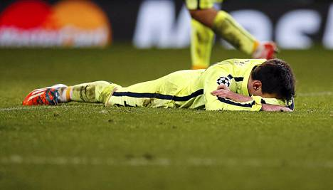 Lionel Messi epäonnistui rangaistuspotkussa Manchester Cityä vastaan ottelun loppuhetkillä.