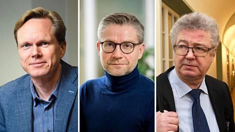 Valtiosääntöoikeuden professori Tuomas Ojanen, julkisoikeuden professori Janne Salminen ja valtiosääntöoikeuden professori Veli-Pekka Viljanen.