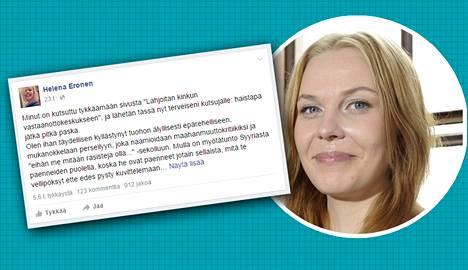 Helena Eronen kirjoitti aiemmin räväkästi maahanmuuttoa vastaan, nyt hän arvostelee yhtä räväkästi rasisteja.