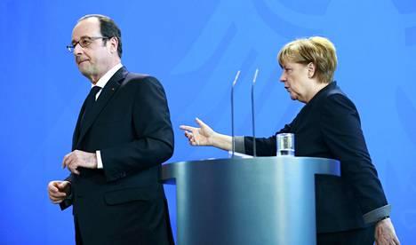 Ranskan presidentti François Hollande tapasi perjantaina Berliinissä Saksan liittokansleri Angela Merkelin.
