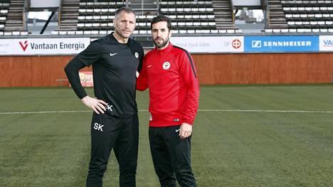 PK-35 Vantaan päävalmentaja Shefki Kuqi ja urheilutoimenjohtaja Pablo Couñago keväällä, kun yhteiselo sujui vielä sopuisasti.