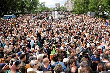 Dekkarikirjailija Boris Akuninin koolle kutsuma marssi Moskovassa sunnuntaina.