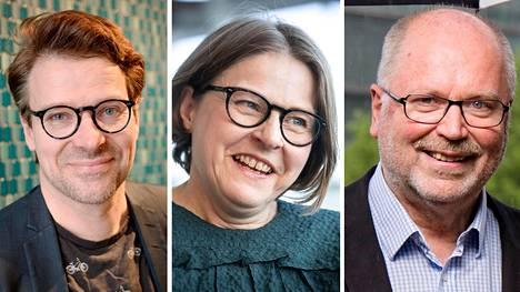 Ville Niinistö, Heidi Hautala ja Eero Heinäluoma.