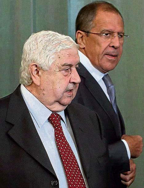 Venäjän ulkoministeri Sergei Lavrov ja Syyrian ulkoministeri Walid al-Moualem tapasivat maanantaina Moskovassa.
