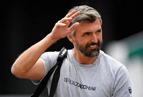 Goran Ivanišević (kuvassa) kuului Wimbledonissa Novak Djokovicin valmennustiimiin.