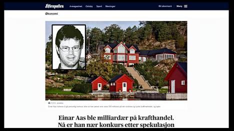 Ruutukaappaus Aftenpostenin sivuilta. Julkisuutta välttelevästä Aasista ei ole tuoreita valokuvia. Hän omistaa muun muassa luksushuvilan Norjan rannikolla.