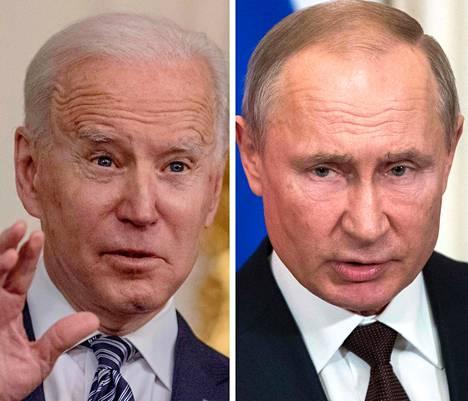Yhdysvaltojen ja Venäjän presidenttien Joe Bidenin (vas.) ja Vladimir Putinin huipputapaamista suunnitellaan kesäkuuksi.