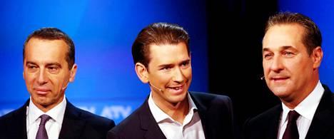 Itävallan suurimman puolueen paikasta taistelevat sosiaalidemokraattien eli SPÖ:n johtaja Christian Kern (vas.), konservatiivipuolue ÖVP:n johtaja Sebastian Kurz ja äärioikeistolaisen Vapauspuolueen FPÖ:n johtaja Heinz-Christian Strache.
