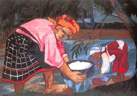 Natalja Gontšarovan öljyvärimaalaus Talonpoikasnaisia vuodelta 1910. – Kirjan kuvitusta.