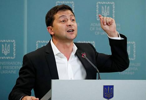 Ukrainan presidentti Volodymyr Zelenskiy piti lehdistötilaisuuden tiistaina Kiovassa.