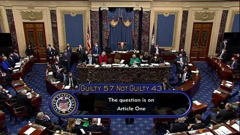 Kuvakaappaus senaatin äänestystuloksesta.
