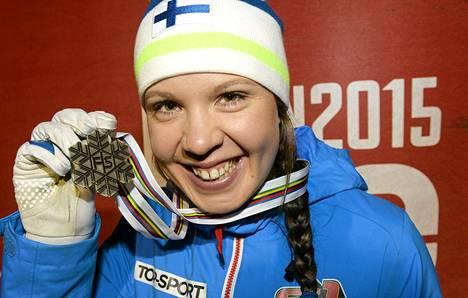 Kerttu Niskanen sai Falunin MM-viestistä uransa ensimmäisen MM-mitalin.