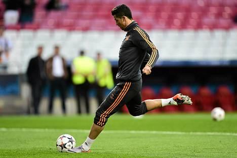 Real Madridin portugalilainen hyökkääjä Cristiano Ronaldo harjoitteli torstaina.