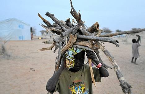 Nigerialainen pakolaislapsi kantoi puita YK:n pakolaislerillä Baga Solassa Tšadissa maanantaina.