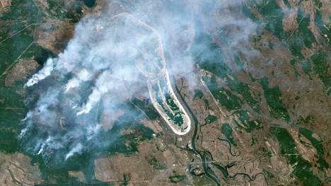 Maastopaloista on noussut ilmaan runsaasti savua käytöstä poistetun Tšernobylin ydinvoimalan lähistöllä. Satelliittikuva on viime viikon torstailta.