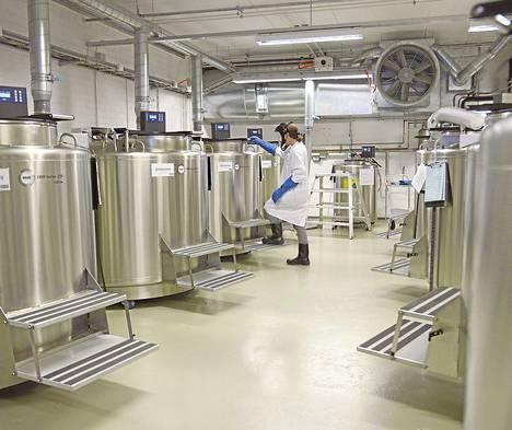 Meilahden sairaala-alueella on säiliöissä Helsingin tulevan Biopankin itu. Säiliöissä riittää tilaa jopa kahdelle miljoonalle näytteelle.