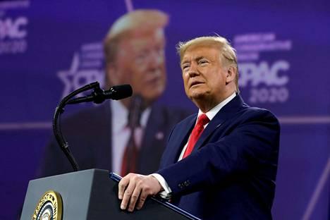Presidentti Donald Trump osallistui CPAC-konferenssiin Marylandin Oxon Hillissä 29. helmikuuta 2020.