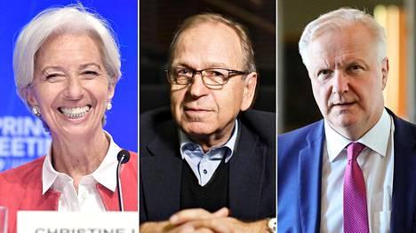 Christine Lagarde, Erkki Liikanen ja Olli Rehn