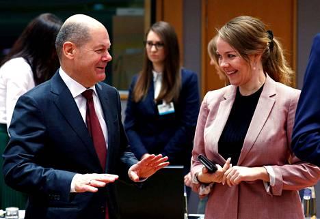 Saksan valtiovarainministeri Olaf Scholz ja Suomen valtiovarainministeri Katri Kulmuni (kesk) tapasivat helmikuussa Brysselissä.
