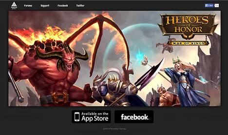 Kuvakaappaus Heroes of Honor -pelin sivulta.