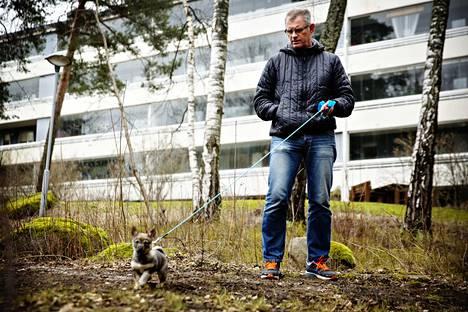 Lehtisaarelainen Johan Krause ulkoilutti huhtikuun alussa Åsa-nimistä länsigöötanmaanpystykorvaansa. Hän asuu vuokralla.