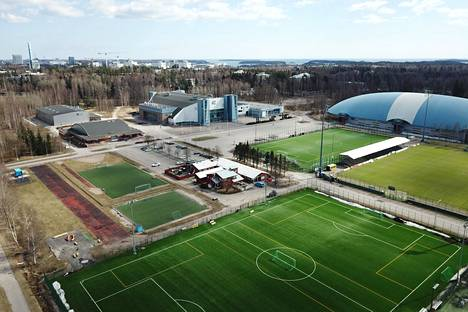 Aerial view of Tapiola Sports Park from 2018. The bubble hall roof of the Esport Arena can be seen in the upper right corner of the picture.