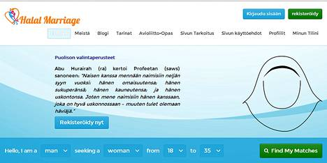 Kuvakaappaus Halalmarriage-sivuston aloitussivusta.