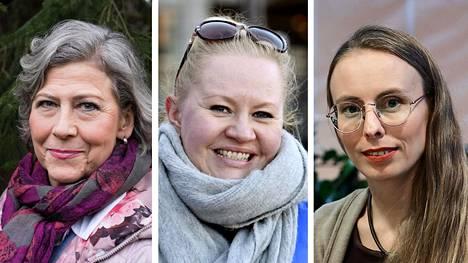 Hilkka Ahde (sd), Lotta Backlund (kok) ja Annica Moore (vihr) ovat ehdolla Helsingissä.
