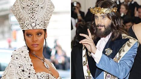 Rihanna (vas.) pukeutui paaviksi, Jared Leto Jeesukseksi.