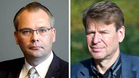 Puolustusministeri Jussi Niinistö (vas.) ja professori Martin Scheinin.