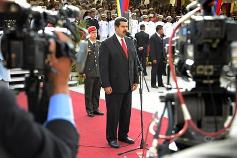 Venezuelan presidentti Nicolas Maduro piti puheen armeijalle maan itsenäisyyspäivänä 5. heinäkuuta.