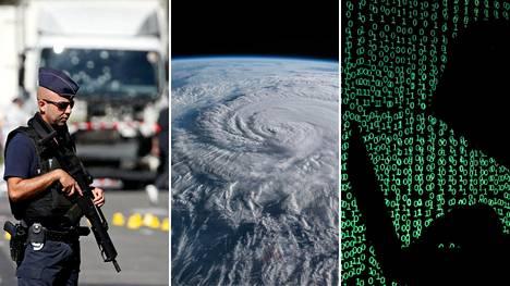 Ilmastonmuutos, terrorismi ja kyberhyökkäykset koettiin kansainvälisessä kyselyssä suurimmiksi uhkiksi.
