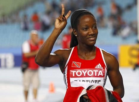 Tobagolainen Kelly-Ann Baptiste juoksi pronssia 100 metrin MM-finaalissa Daegussa Etelä-Koreassa vuonna 2011.