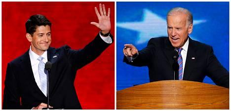 Paul Ryan (vas.) ja Joe Biden<BR/>