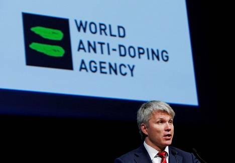 Venäjän urheiluministeri Pavel Kolobkov esiintyi Maailman antidopingtoimiston Wadan symposiumissa Sveitsissä maaliskuussa 2013.