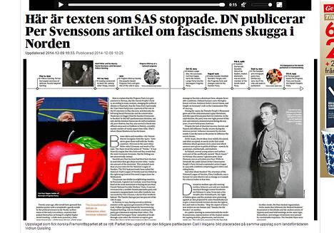 Tästä kuvarinnastuksesta SAS:n asiakaslehdessä Norjan oikeistopopulistinen edistyspuolue hermostui. Vasemmalla on edistyspuolueen entinen puheenjohtaja ja oikella Norjan sodanaikainen natsijohtaja Quisling. Kuvakaappaus Dagens Nyheterin sivulta.